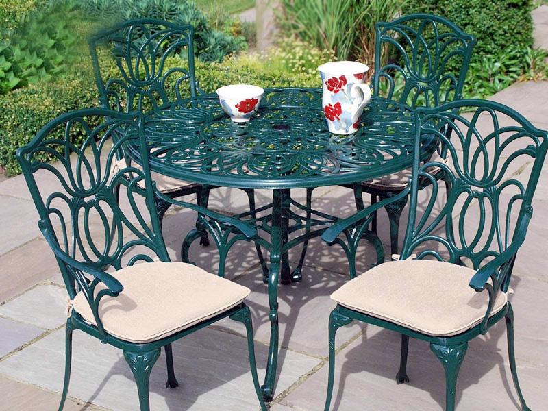 bàn ghế sắt cafe ngoài trời màu xanh