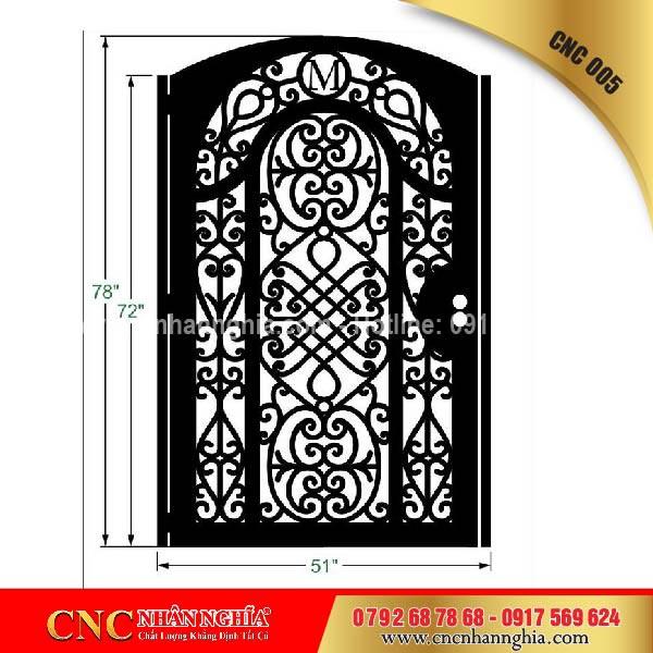 cửa cổng sắt mỹ thuật cnc 005